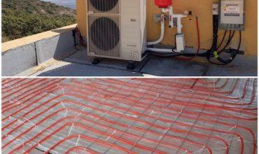 התקנה של מערכת חימום תת רצפתית ומשאבת חום בהררית